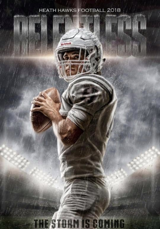 Jackson Van Bevers football poster for Rockwall Heath Highschool quarterback.
