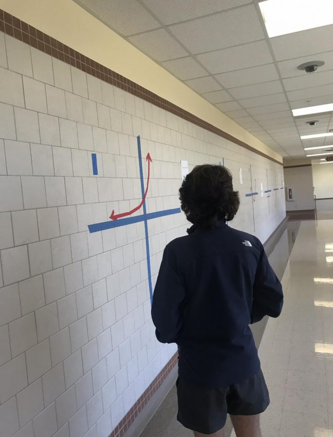 A step outside Freshman Parker Cleavinger is working in the halls on giant math problems set up by his class so he can better understand what he is working on.