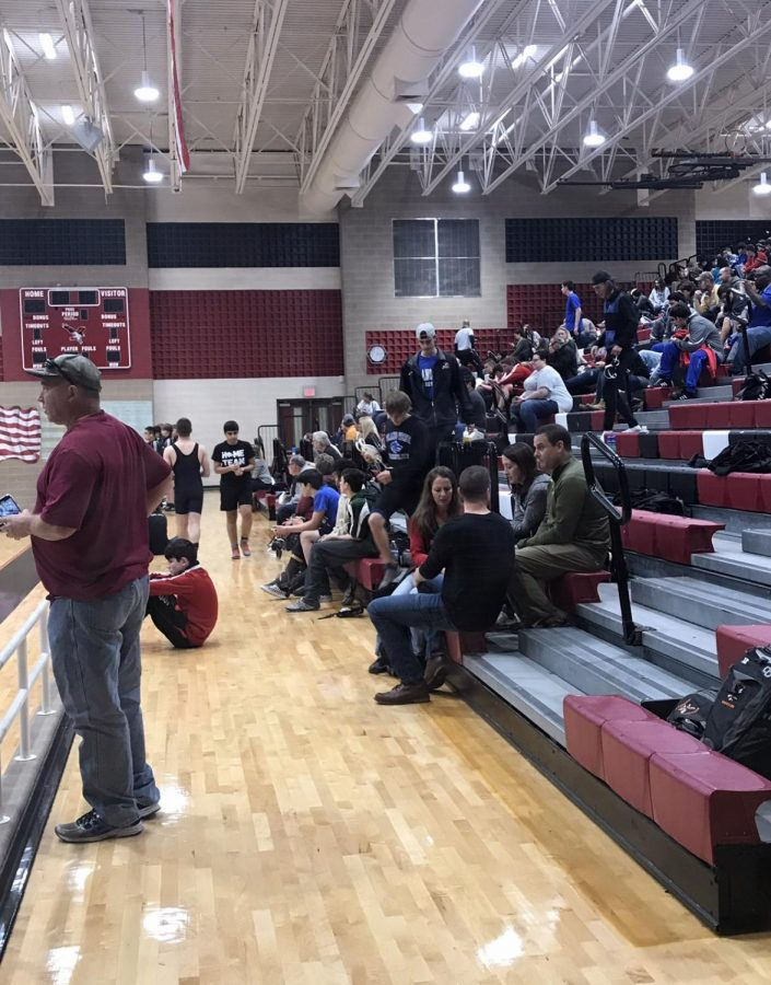 Competition Ready Parents and students from surrounding districts all gather in the gym as the wrestling tournament that takes place this afternoon.