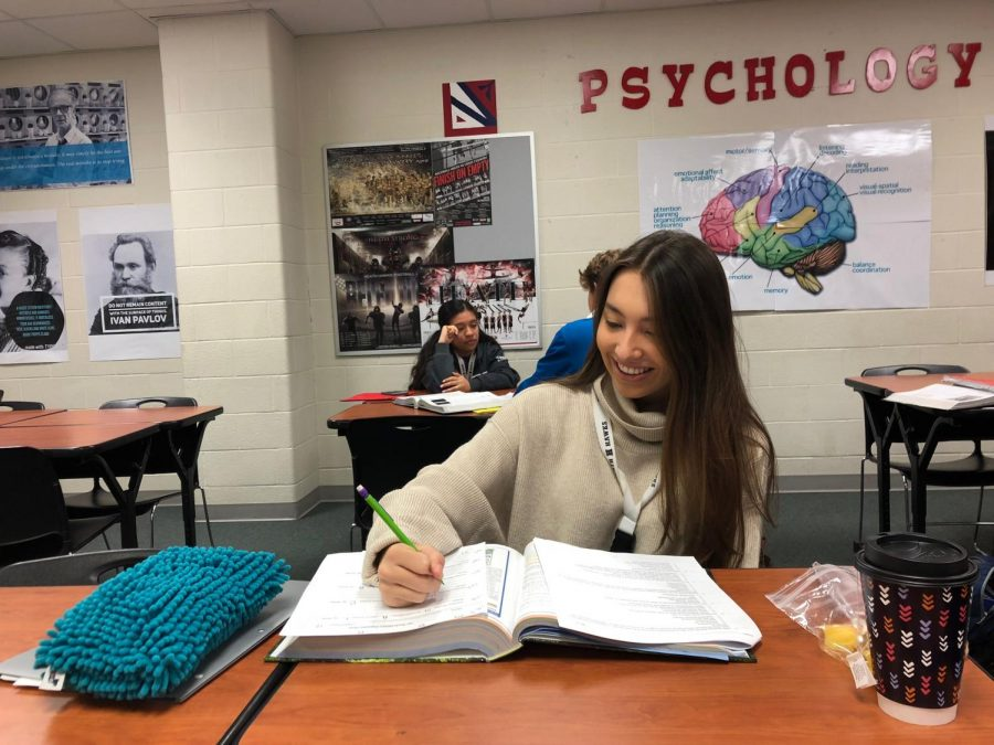 Senioritis Who?  Senior Celeste Ansari does corrections on an AP Psychology quiz in order to raise her grade. Senior year for most is filled with anxiety over college applications and college acceptances, but some like Celeste make sure to leave time for her schoolwork instead of falling into the temptations of 'senioritis.'