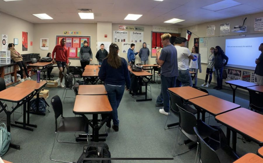 Discussing Opinions! Students in Mrs.Woods' 6th period class share and discuss their point of views with their classmates in this activity.