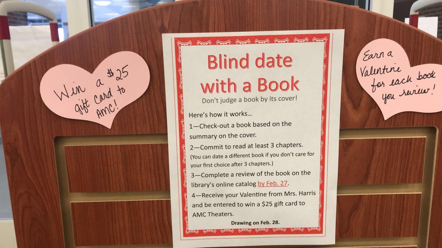 Loving what you read // In the front of the library, this shelf displays the rules and books for the blind date activity. The activity has been a big hit. Librarian Mrs. Harris said,