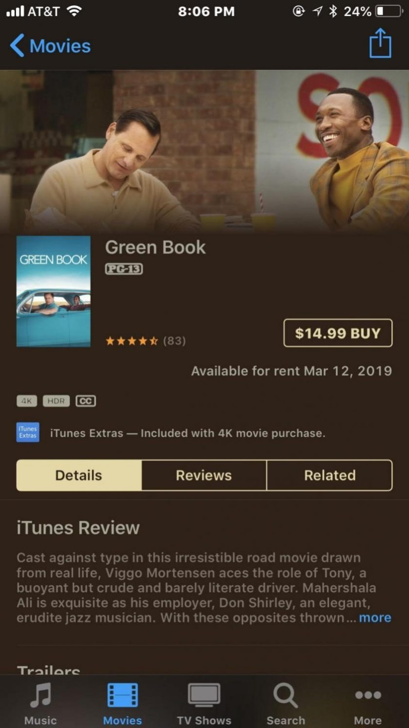 Buy it rent it// Green Book is number three on the iTunes charts.