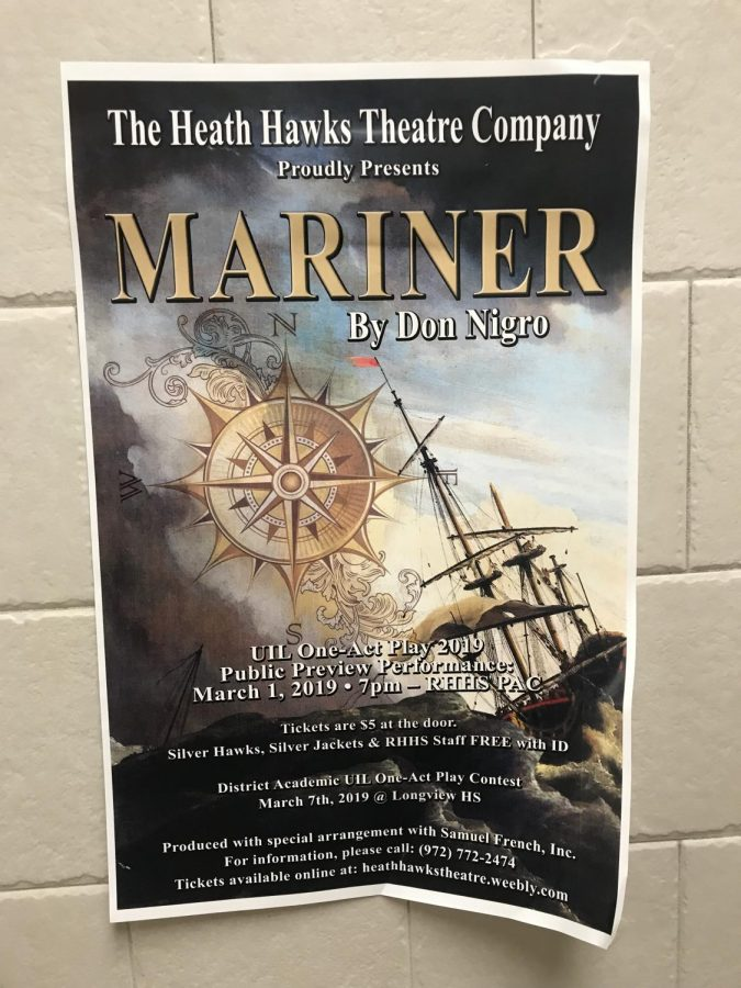 A show full of fun // The Heath theatre company is putting on a production of The Mariner. There was one public show before they take it to UIL competition. Wish them luck!