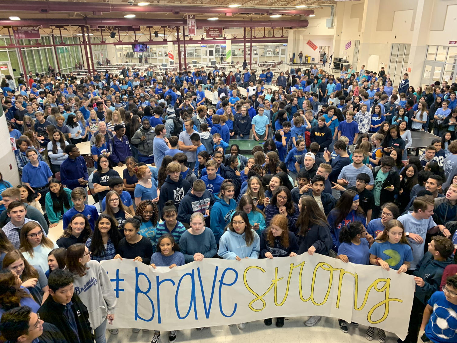 A Show of Support // Multiple high schools from across North Texas wore blue and gold last Friday to honor the four Community ISD students that passed away in a tragic car accident last Tuesday. Photo credit: Virdie Montgomery