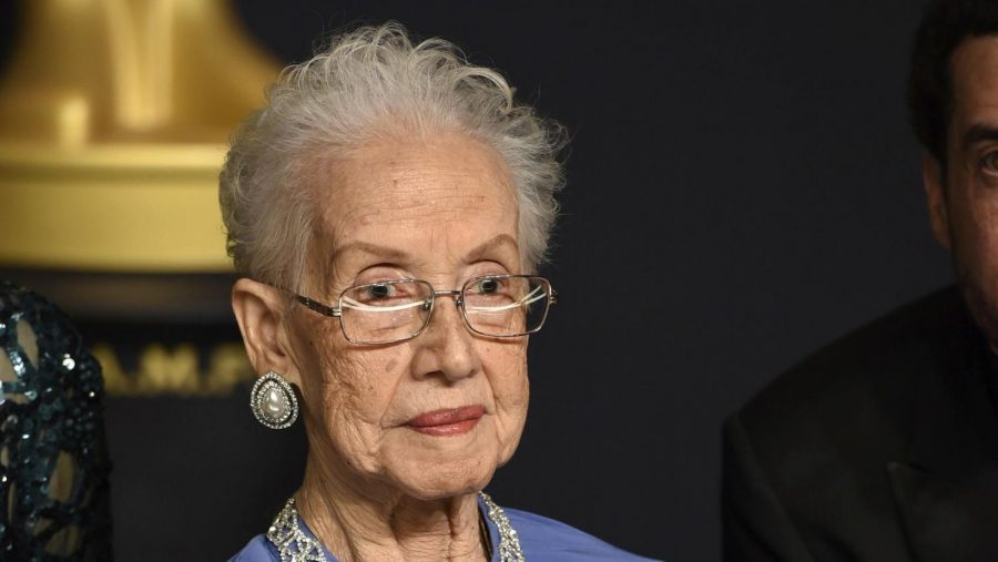 Katherine Johnson, the inspiration for the film Hidden Figures, poses in the press room at the Oscars at the Dolby Theatre in Los Angeles in February 2017. Johnson, a mathematician on early space missions who was portrayed in film