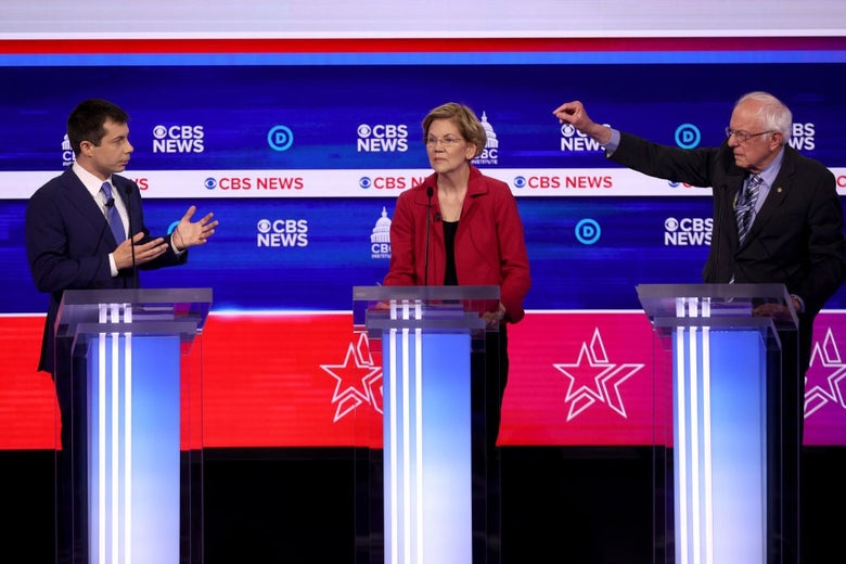 Pete Buttigieg, Elizabeth Warren, and Bernie Sanders in Charleston, South Carolina, on Tuesday. Win McNamee/Getty Images.